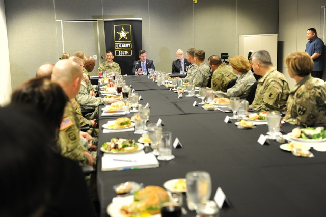 JOINT BASE SAN ANTONIO-FORT SAM HOUSTON, Texas -- The Honorable Patrick Murphy, Acting Secretary of the Army, spoke to Army South's adjutant general conference participants during his visit to Fort Sam Houston. Murphy received a briefing on the State Partnership Program and command brief on U.S. Army South's mission and operation.  Army South hosted the conference Jan. 20-21 to synchronize efforts with Army National Guard partner states, Army National Guard Bureau in support of U.S. Southern Command's State Partnership Program. More than 75 participants gathered at the Fort Sam Houston, Mission Training Complex, for the adjutant general conference including adjutants and assistant adjutants generals and command sergeants major representing 17 states; State Partnership Program directors; representatives from U.S. Southern Command, Air Force Command and Navy Command; 10 Army section chiefs stationed at partner nation countries; and U.S. Army South staff. (Photo by Robert Ramon, U.S. Army South Public Affairs)