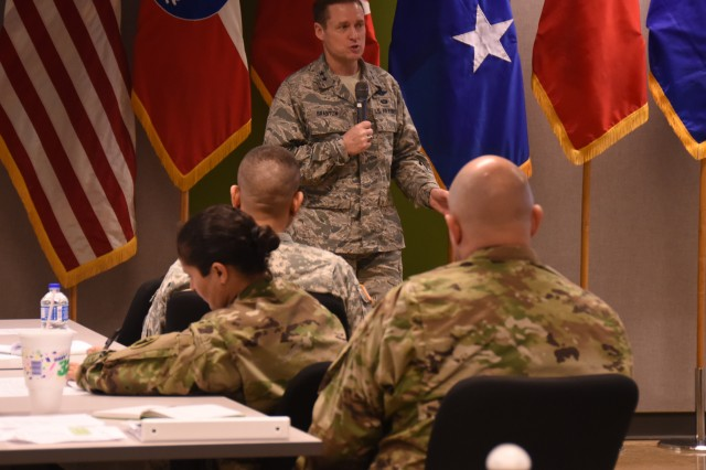 "JOINT BASE SAN ANTONIO-FORT SAM HOUSTON, Texas - Army South hosted the conference Jan. 20-21 to synchronize efforts with Army National Guard partner states, Army National Guard Bureau in support of U.S. Southern Command's State Partnership Program. Maj. Gen. Robert Branyon, Deputy Commander for Mobilization & Reserve Affairs, U.S. Southern Command, commended the adjutant general conference participants for their hard work to strengthen the State Partnership Program. ""Everyone on active duty, guard and reserve knows the value of SPP. Thanks again for the relationship you build and the ones you are going to build,"" said Branyon More than 75 participants gathered at the Fort Sam Houston, Mission Training Complex, for the adjutant general conference including adjutants and assistant adjutants generals and command sergeants major representing 17 states; State Partnership Program directors; representatives from U.S. Southern Command, Air Force Command and Navy Command; 10 Army section chiefs stationed at partner nation countries; and U.S. Army South staff. (Photo by Sgt. Mahlet Tesfaye, U.S. Army South Public Affairs)"