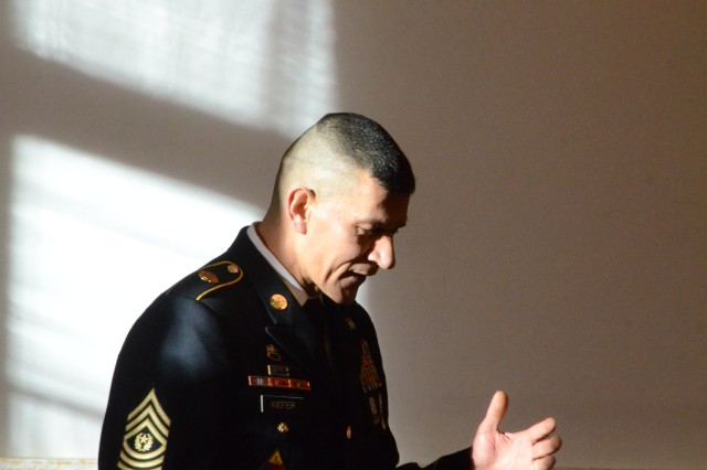 ANSBACH, Germany (Jan. 26, 2016) --  Retired Command Sgt. Maj. Mark A. Kiefer gives a speech on the occasion of his retirement. U.S. Army Garrison Ansbach held a relinquishment of responsibility and retirement ceremony Jan. 8 at the Von Steuben Community Center here to farewell Kiefer. (U.S. Army photo by Bryan Gatchell, USAG Ansbach Public Affairs)