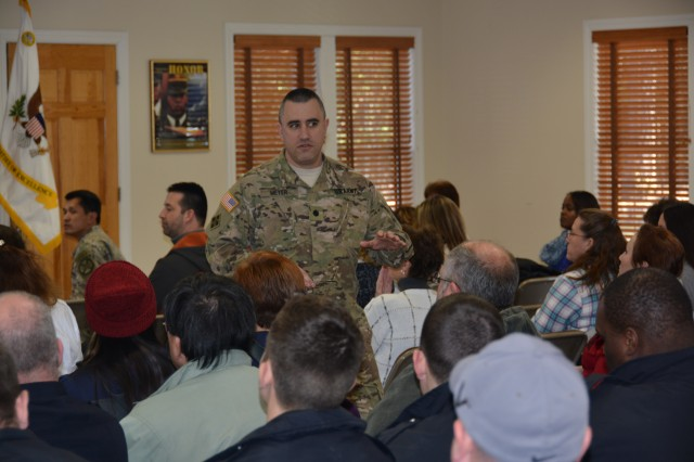 U.S. Army Garrison Fort A.P. Hill Commander Lt. Col. David A. Meyer held an Employee Town Hall January 21, 2016, in Romenick Hall.