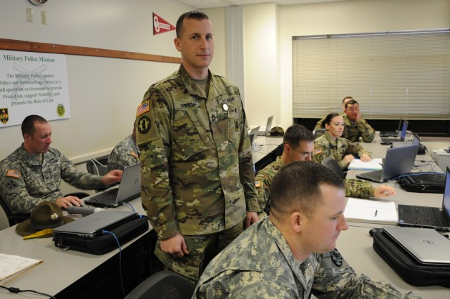 Sgt. 1st Class Michael Gibson, senior small group leader, Military Police Senior Leader Course, will receive the Army Master Instructor Badge during a ceremony scheduled next month at the Maneuver Support Center of Excellence Noncommissioned Officers Academy.
