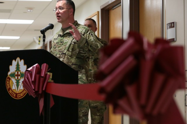 Col. Michael Place, commander of Madigan Army Medical Center, speaks at the opening of the Madigan Residential Treatment Facility on January 21.