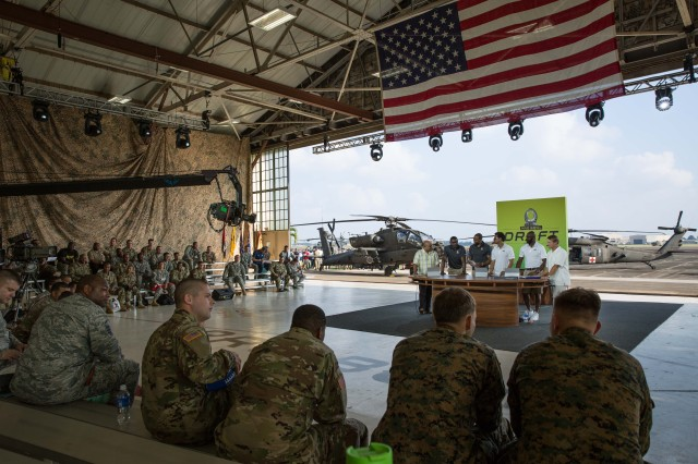 WHEELER ARMY AIRFIELD, Hawaii -- The 2016 Pro Bowl Draft set-up to announce the NFL Players selected for the Pro Bowl, in front of selected service members and families, Jan. 27. (U.S. Army photo by Sgt. Daniel K. Johnson)