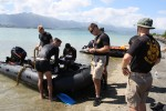 MARINE CORPS BASE HAWAII (Jan. 26, 2016) -- Divers from the  U.S. Army's 7th Dive Detachment ready their dive gear and rib boat before heading out into the waters of Kaneohe Bay to conduct a dive survey for the U.S. Army Corps of Engineers, Honolulu District in support of a Navy Dept. financed structural study of the historic Seaplane Ramps at Marine Corps Base Hawaii (MCBH) on Kaneohe Bay. The study, being conducted in-house by the District, provided an opportunity for the Corps to partner with the Army's 7th Dive Detachment, 84th Engineer Battalion, 130th Engineer Brigade, which conducted the two day underwater site survey this week.