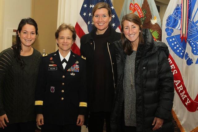 Brig. Gen. Diana Holland, the U.S. Military Academy at West Point Corps of Cadets Commandant, poses with the current Army West Point Women's Lacrosse coaching staff (Courtesy photo from Army Athletic Communications/all rights reserved.)