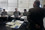 Foreign Area Officers attending the Defense Language Institute Foreign Language Center practice listening to Arabic in their classroom at the institute's Middle East School II Jan. 27. Retired U.S. Army Brig. Gen. Matthew Brand encouraged FAOs in their language learning during the Joint Foreign Area Officer Course Jan. 28.