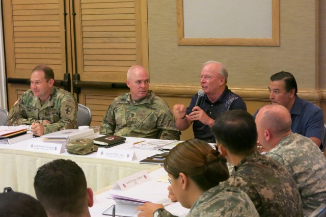 Retired Sgt. Maj. of the Army Jack L. Tilley serves as a senior mentor and engages in leadership discussions with the FY16 Young Alaka'i class, Jan. 13, 2016, at Fort Shafter, Hawaii. The 34 top-performing military leaders from 18 organizations across the Pacific theater embraced the meaning and honor associated with the Hawaiian value of leadership as they gathered on Oahu in January to kick off the FY16 Young Alaka'i class, an in-stride broadening opportunity designed to prepare them to succeed together as tomorrow's strategic leaders. (U.S. Army photo by Sgt. 1st Class Mary E. Ferguson, 8th Theater Sustainment Command Public Affairs/RELEASED)