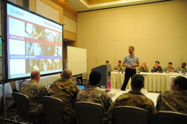 Members of the FY16 Young Alaka'i leader development program joined representatives from USAID (United States Agency of International Development), Jan. 14, 2016, at Fort Shafter, Hawaii, to discuss the complexities of Humanitarian assistance/disaster relief efforts in the region and the teamwork it takes to respond to disasters. The 34 top-performing military leaders from 18 organizations across the Pacific theater embraced the meaning and honor associated with the Hawaiian value of leadership as they gathered on Oahu in January to kick off the FY16 Young Alaka'i class, an in-stride broadening opportunity designed to prepare them to succeed together as tomorrow's strategic leaders. (U.S. Army photo by Sgt. 1st Class Mary E. Ferguson, 8th Theater Sustainment Command Public Affairs/RELEASED)