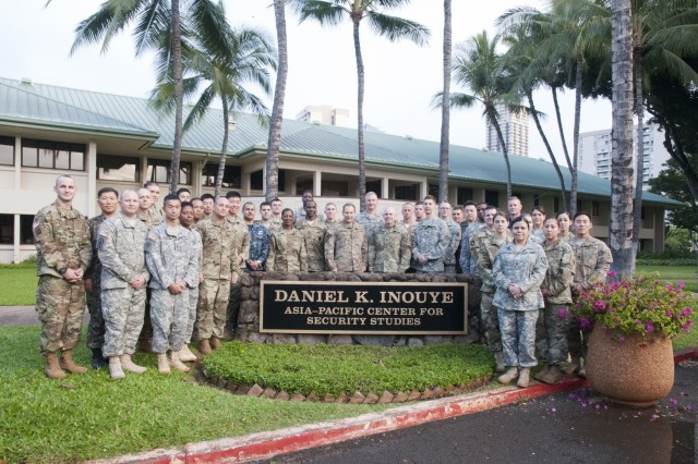 Members of the FY16 Young Alaka'i leader development program participate in strategic briefs and small-group discussion sessions with top regional scholars and experts Jan. 15, 2016, at the Daniel K. Inouye Asia-Pacific Center for Security Studies (DKI APCSS) in Waikiki. The 34 top-performing military leaders from 18 organizations across the Pacific theater embraced the meaning and honor associated with this Hawaiian value of leadership as they gathered on Oahu in January to kick off the FY16 Young Alaka'i class, an in-stride broadening opportunity designed to prepare them to succeed together as tomorrow's strategic leaders. (U.S. Army photo by Sgt. 1st Class Mary E. Ferguson, 8th Theater Sustainment Command Public Affairs/RELEASED)