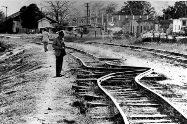 Damage to train rails done by Feb. 4, 1976 earthquake in Guatemala. Ballistic Missile Defense Systems Command located on Wynn Drive in Huntsville, Alabama, was one of the first communication links with the disaster area and would play a vital role providing communications between Guatemala and American relief agencies.