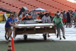 8th Theater Sustainment Soldiers volunteer to move stage pieces during the preparation for Pro Bowl 2016 at Aloha Stadium, Honolulu, Jan. 30.