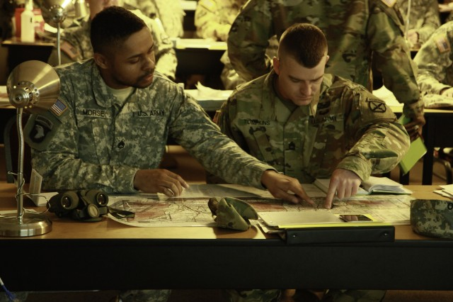 Key leaders assigned to 210th Brigade Support Battalion, 2nd Brigade Combat Team, 10th Mountain Division, Fort Drum, N.Y., identifying enemy locations on military maps during call for fire training scheduled for Feb. 2-5 on Fort Drum. This process of accurately locating enemy targets is the foundation of delivering timely, accurate, and lethal fire support.By weeks end, each Soldier in attendance will be able to identify enemy targets, plot their location on a military map, contact ground or aerial fire support teams, and if necessary, redirect the location of impacting rounds.