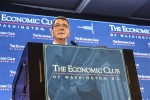 Defense Secretary Ash Carter previews the 2017 defense budget during a breakfast event at the Economic Club in Washington, D.C., Feb. 2, 2016. Carter discussed the evolving challenges that drive the department's planning, including the ongoing fight against terrorism.