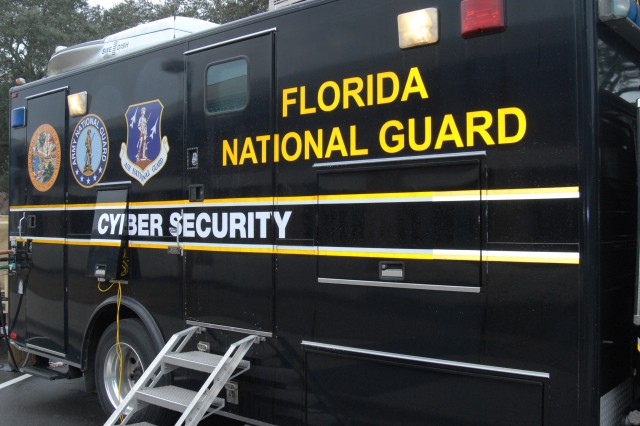 The Florida National Guard's computer network defense team uses this mobile cyber security center to train on simulated cyber attacks.