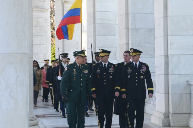 Colombian National Army Commander Gen. Alberto Jose Mejia (left) departs Arlington National Cemeteryafter an Army Full Honors Wreath-Laying Ceremony with Vice Chief of Staff of the U.S. Army Gen. Daniel B. Allyn (right) and Maj. Gen. Bradley A. Becker (center), commanding general, @U.S. US Army Military District of Washington , Tuesday, Feb. 2, 2016.The Ejército Nacional de Colombia general is scheduled to transfer authority of the Conference of the American Armies to U.S. Army Chief of Staff @Gen. Mark GEN Mark A. Milley at Joint Base Myer - Henderson Hall later in the afternoon. (U.S. Army Photo by Staff Sgt. Jennifer Johnson)
