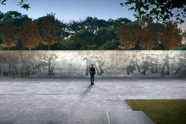 "A panel is shown from the design concept of ""The Weight of Sacrifice,"" by Joseph Weishaar and Sabin Howard, the team chosen by the National World War One Centennial Commission to design a national memorial for what was known at the time as ""The Great War."""