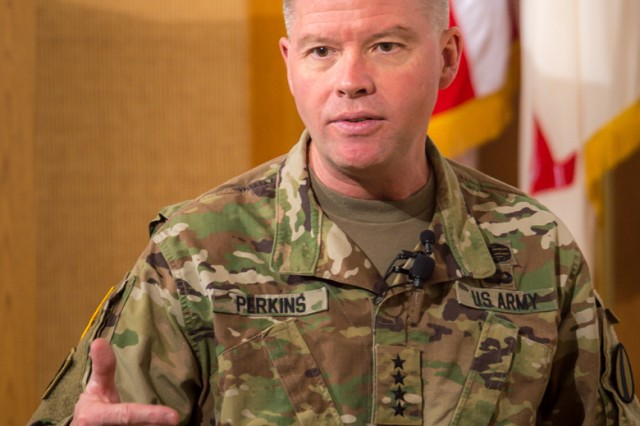 """Gen. David Perkins, U.S. Army Training and Doctrine Command's commanding general, told Fort Leonard Wood military and civilian leaders that it is a """"unique responsibility"""" to know what an organization is for and how it fits into the overall Army structure during a leader professional development held Feb. 1 in Lincoln Hall Auditorium."""
