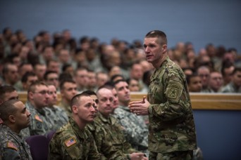 Sgt. Maj. of the Army Daniel A. Dailey speaks to Soldiers during a town hall on Fort Drum, N.Y., Feb. 4, 2016.