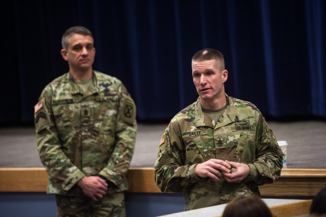 Sgt. Maj. of the Army Daniel A. Dailey thanks Fort Drum Soldiers during a town hall, Feb. 4, 2016.