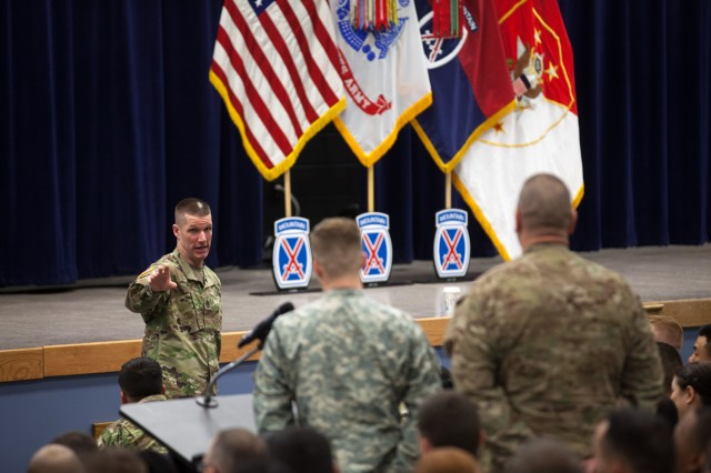 Sgt. Maj. of the Army Daniel A. Dailey answers questions from Soldiers during a town hall on Fort Drum, N.Y., Feb. 4, 2016.