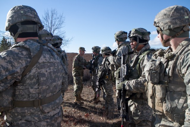 Sgt. Maj. of the Army Daniel Dailey meets with Pathfinder Soldiers in the 10th Combat Aviation Brigade during his visit to Fort Drum, Feb. 4, 2016. Dailey made his first trip to 10th Mountain Division and Fort Drum Feb. 3 and 4.
