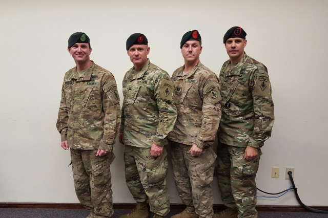 Four Chaplains who completed the U.S. Army Special Forces Assessment and Selection program, as well as the Special Forces Qualification Course. (From left to right: Chaplains Timothy Maracle, Mike Smith, Tim Crawley, and Peter Hofman.)