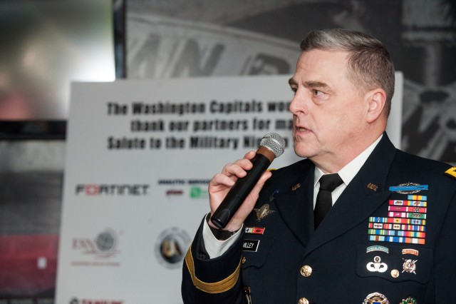 "Army Chief of Staff Gen. Mark A. Milley delivers remarks at a pre-game VIP reception as the National Hockey League Washington Capitals hosted a ""Salute to Military Night"" to thank military personnel for their service, Feb. 4, 2016."