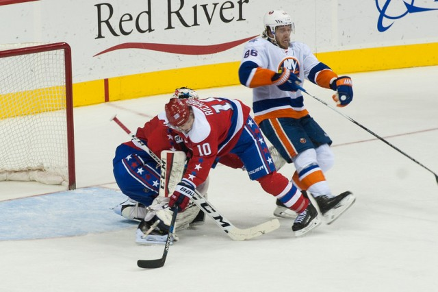 "The National Hockey League Washington Capitals compete against the New York Islanders as the Capitals hosted a ""Salute to Military Night"" to thank military personnel for their service in Washington, D.C., Feb. 4, 2016."
