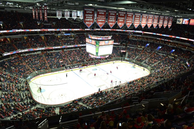 "A wide view of the National Hockey League Washington Capitals game against the New York Islanders is shown where the Capitals hosted a ""Salute to Military Night"" to thank military personnel for their service, Feb. 4, 2016."