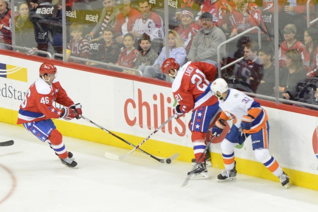 "National Hockey League Washington Capitals compete against the New York Islanders as the Capitals hosted a ""Salute to Military Night"" to thank military personnel for their service in Washington, D.C., Feb. 4, 2016."