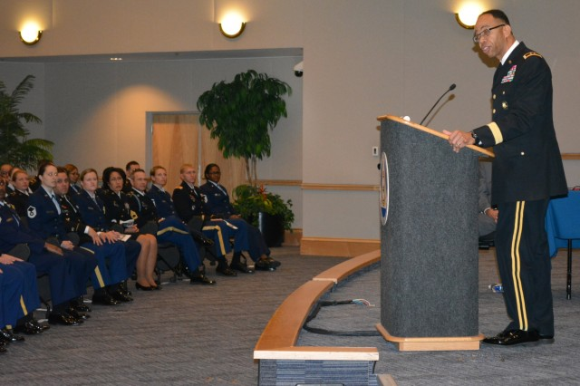 Maj. Gen. A.C. Roper delivers the keynote address during the Equal Opportunity Advisors Reserve Component Course graduation ceremony at the Defense Equal Opportunity Management Institute, Patrick Air Force Base, Fla., Feb. 5, 2016.