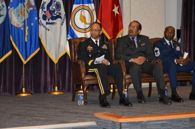 From left-right, Maj. Gen. A.C. Roper, commander 80th Training Command, Dr. Jose Bolton, dean of Equal Opportunity and Equal Employment Opportunity, Defense Equal Opportunity Management Institute, and Chief Master Sgt. Boston A. Alexander, senior enlisted advisor DEMOI, during the Equal Opportunity Advisors Reserve Component Course graduation ceremony at DEOMI, Patrick Air Force Base, Fla., Feb. 5, 2016. Roper was the keynote speaker during the ceremony.