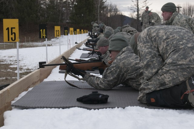 U.S. Soldiers, with Alpha Company, 3rd Battalion, 172nd Infantry Regiment (Mountain), Vermont National Guard, conduct a live-fire exercise with .22-caliber rifles at Camp Ethan Allen Training Site in Jericho, Vt., Feb. 6, 2016.