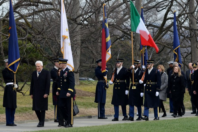 His Excellency Sergio Mattarella, President of the Italian Republic, participates in an Armed Forces Full Honors Wreath-Laying Ceremony with Maj. Gen. Bradley A. Becker, U.S. Army Military District of Washington commanding general, to honor America's fallen at the Tomb of the Unknown Soldier at Arlington National Cemetery, Va., Feb. 7, 2016.