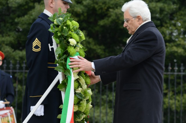 His Excellency Sergio Mattarella, President of the Italian Republic, lays a wreath during an Armed Forces Full Honors Wreath-Laying Ceremony to honor America's fallen at the Tomb of the Unknown Soldier at Arlington National Cemetery, Va., Feb. 7, 2016.