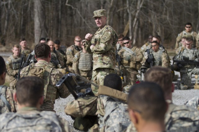Sgt. Maj. of the Army Daniel A. Dailey speaks to Soldiers, from Company A, 1st Battalion, 327th Infantry Regiment, 1st Brigade Combat Team, 101st Airborne Division (Air Assault), following a live-fire exercise on Fort Campbell, Ky., Jan. 28, 2016.