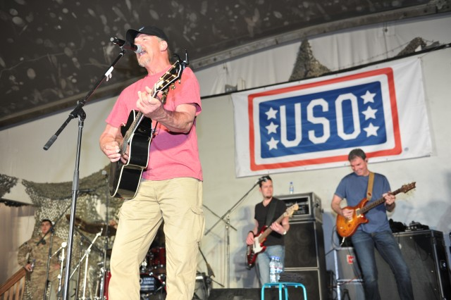 Country music superstar Trace Adkins performs for a standing-room-only crowd at Bagram Airfield, April 17, 2015, as part of his USO tour of Afghanistan.