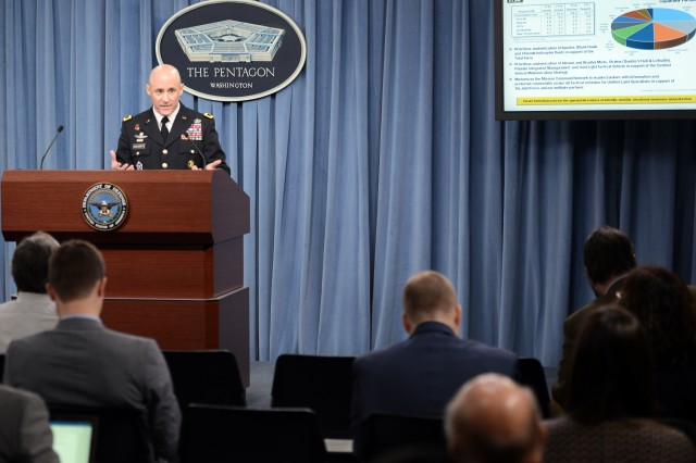 Maj. Gen. Thomas A. Horlander, director of the Army budget, outlines the Army's fiscal 2017 budget during a briefing at the Pentagon, Feb. 9, 2016.