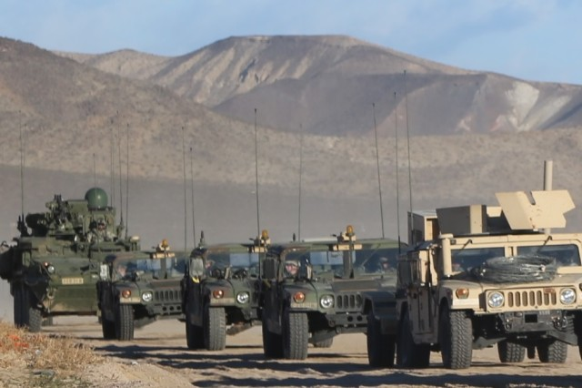 A Warfighter Information Network-Tactical Increment 2-equipped Stryker brings up the rear of this convoy during 2nd Stryker Brigade Combat Team, 2nd Infantry Division's Decisive Action Rotation at the National Training Center, Calif., Jan. 15, 2016.