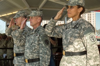 Lt. Gen. Nadja West, Army Surgeon General and Commander U.S. Army Medical Command, together with Maj. Gen. Stephen L. Jones, Commander of the Army Medical Department Center and School and Gen. Daniel Allen, Vice Chief of Staff of the U.S. Army salute the colors.