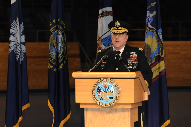 Army Chief of Staff Gen. Mark A. Milley hosts the promotion of the 44th Army surgeon general on Joint Base Myer-Henderson Hall, Va., Feb. 9, 2016.