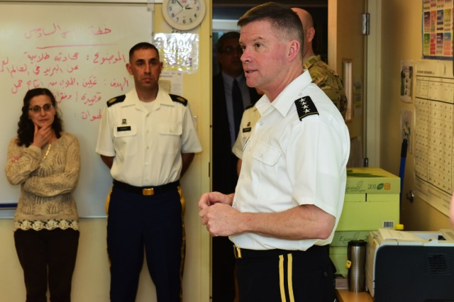 Gen. David Perkins, the commanding general of the U.S. Army Training and Doctrine Command at Fort Eustis, Va., speaks to students studying Arabic at the Defense Language Institute Foreign Language Center at the Presidio of Monterey, Calif., Feb. 9.