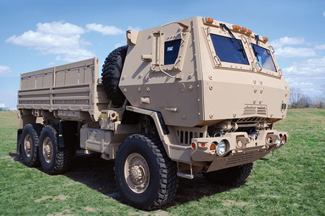 This cargo truck, the M1083A1P2, represents today's current fleet of medium tactical vehicles.