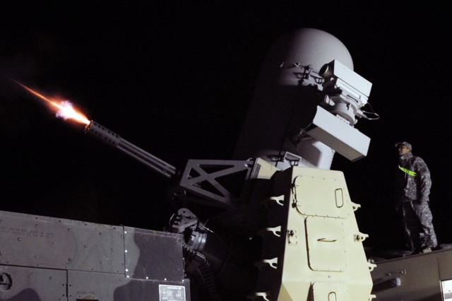 A Counter-Rocket, Artillery, Missile gun fires flares during a weapons test at Joint Base Balad, Iraq, Jan. 31, 2010. C-RAM has the ability to fire up to 4,500 rounds per minute to protect the base against incoming projectiles.