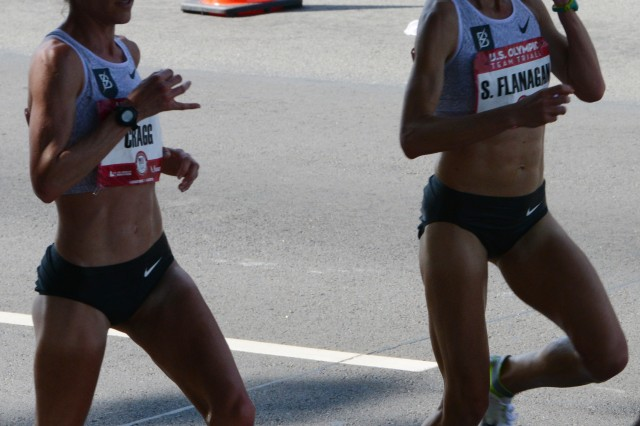 Amy Cragg, who placed first at the marathon Olympic Trials in Los Angeles, Feb. 13, 2016, came in at 02:28:20. Shalane Flanagan came in third at 02:29:19.