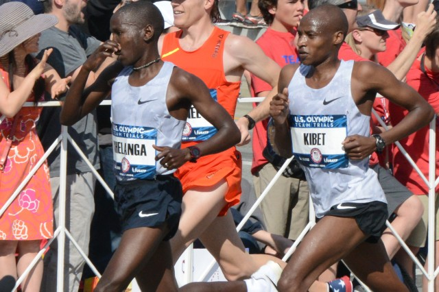 For much of the first part of the marathon Olympic Trials in Los Angeles, Feb. 13, 2016, Spc. Elkanah Kibet led the pack. The upper 80F temps were a bit too much, though, and he fell to 19th place at 02:20:10. He's shown here in the lead.