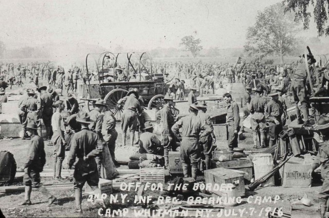 The organized confusion of deployment preparation is obvious in this July 7, 1916, photo of the 2nd New York Infantry Regiment preparing to depart for the Mexican border.