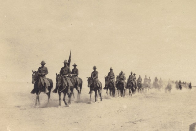 Pennsylvania National Guard cavalrymen head out on another long, dusty patrol of the border. Pennsylvania Guardsmen would earn a reputation for efficiency and effectiveness while serving near El Paso, Texas.