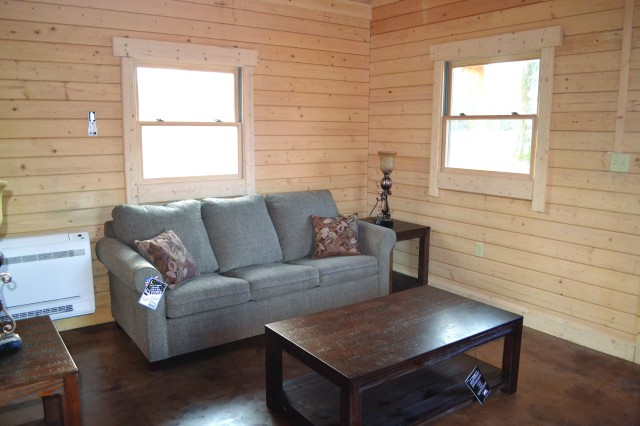 "Rustic and comfortable furniture makes the ""Cabin in the Pines"" feel like a home away from home. A grand opening will be held at the cabin later in February or early March, according to MWR."