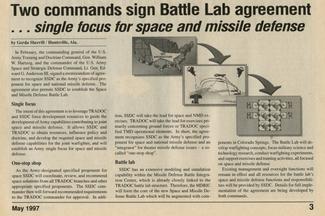A copy of the Battle Lab agreement news article and a graphic